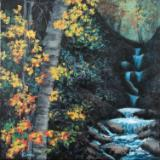 Yellow Flowers by Waterfall